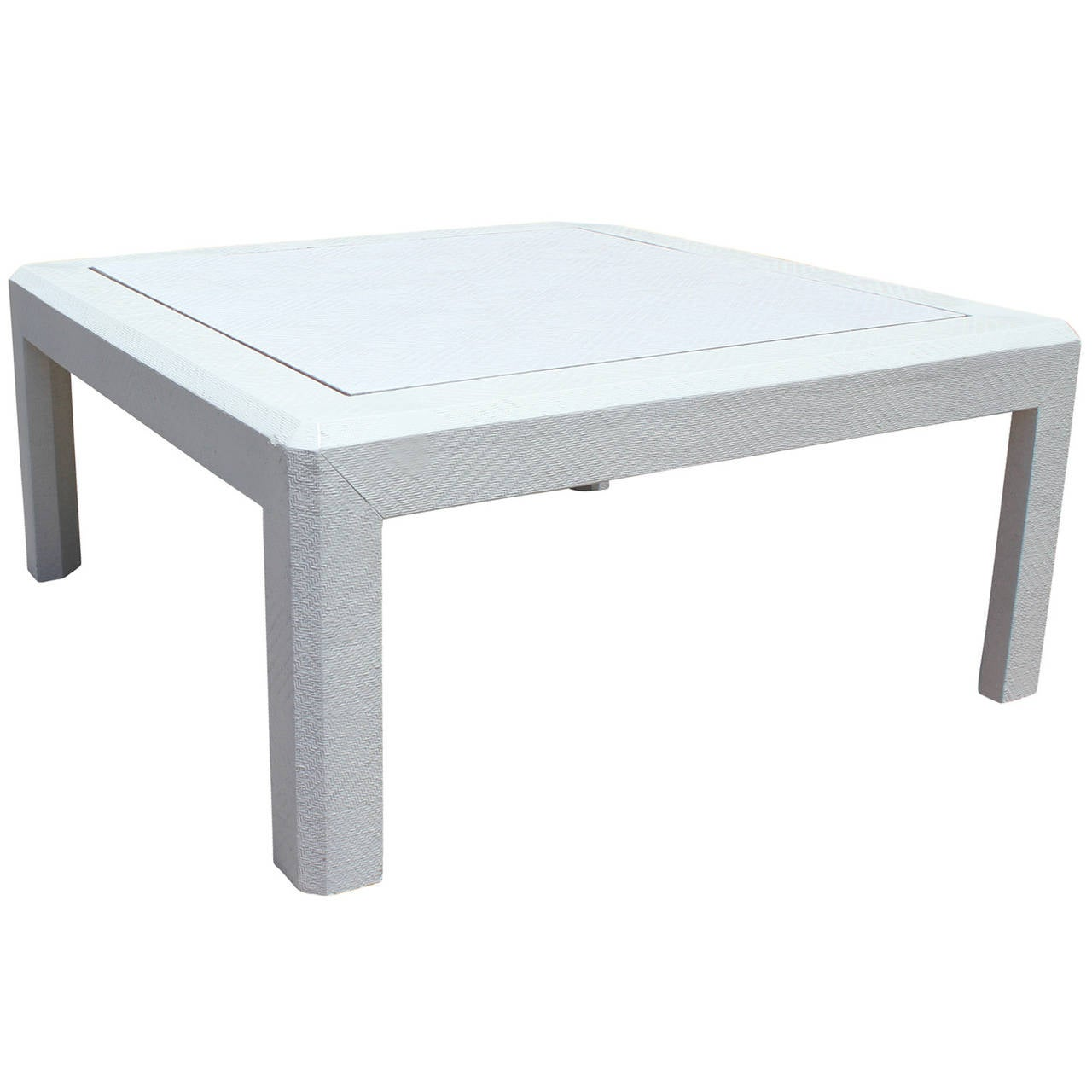 Coffee Table Stool Modern Harrison Van Horn Style Square White Lacquered Raffia