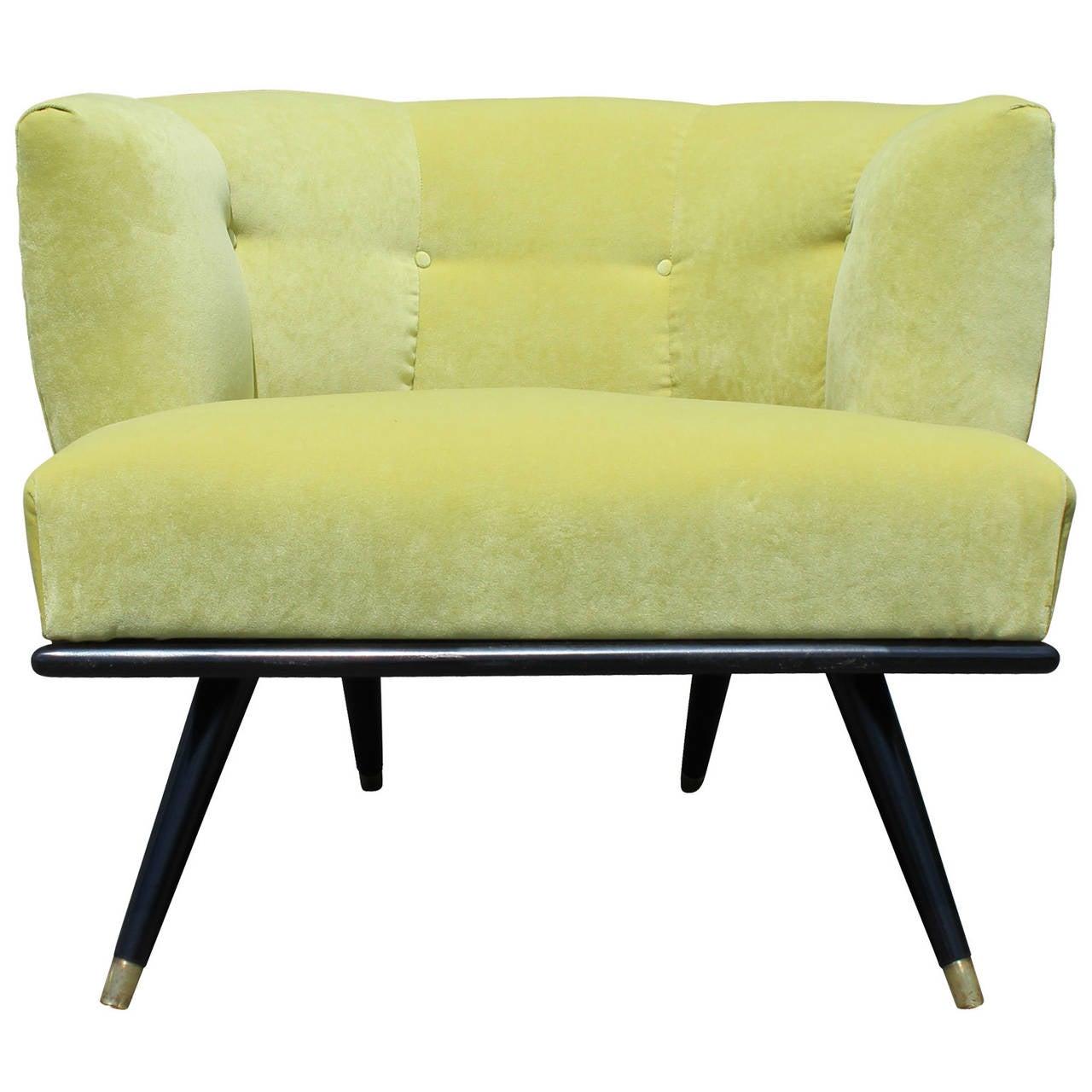 Modern Italian Style Barrel Back Chair In Green Velvet