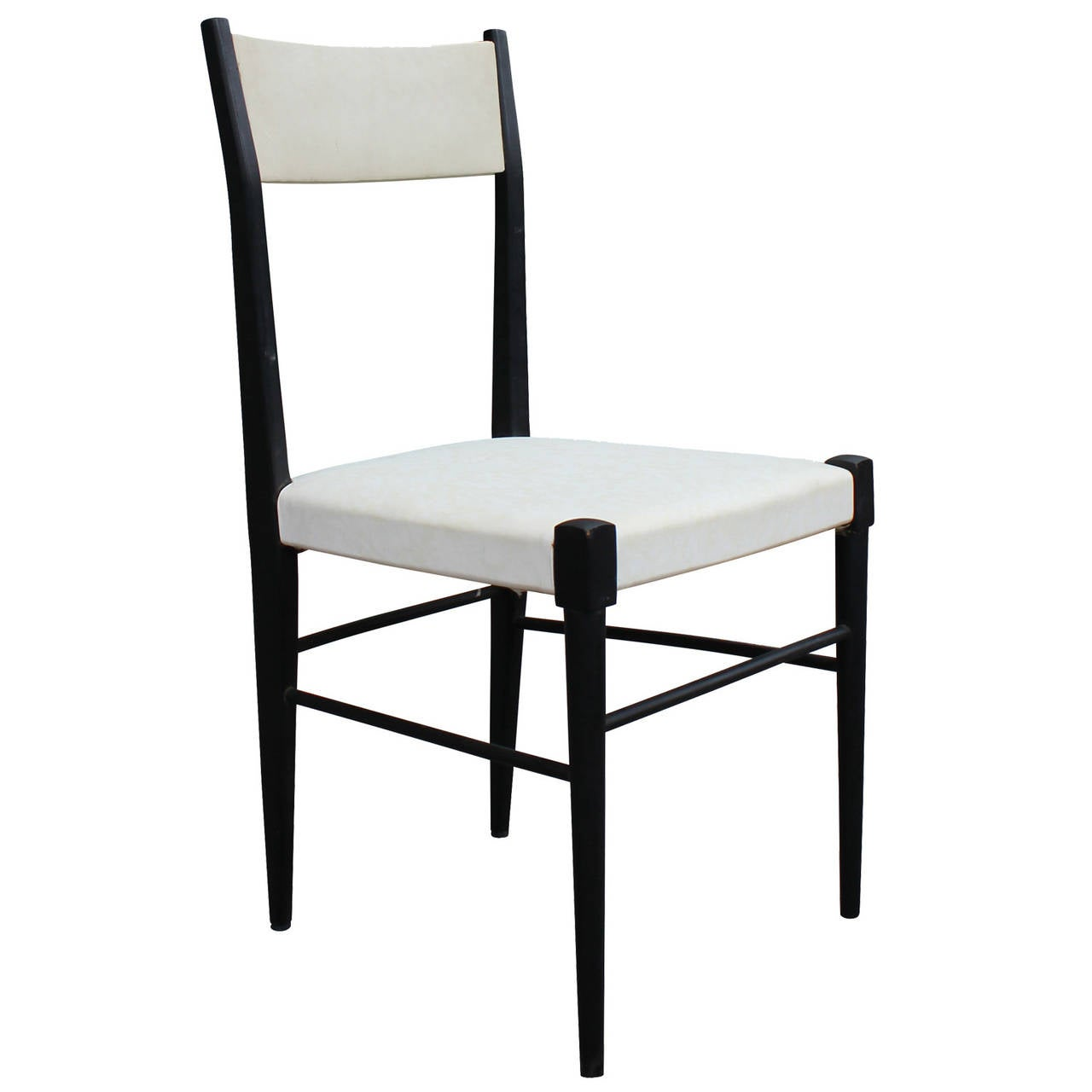 Set of six modern white vinyl italian dining chairs for for Italian dining chairs modern