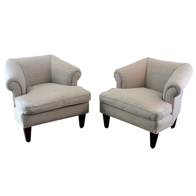 Edward Wormley for Dunbar Club Chairs with Ottoman