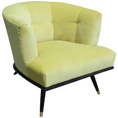 Modern Italian Style Barrel Back Chair in Green Velvet with Lacquered Base