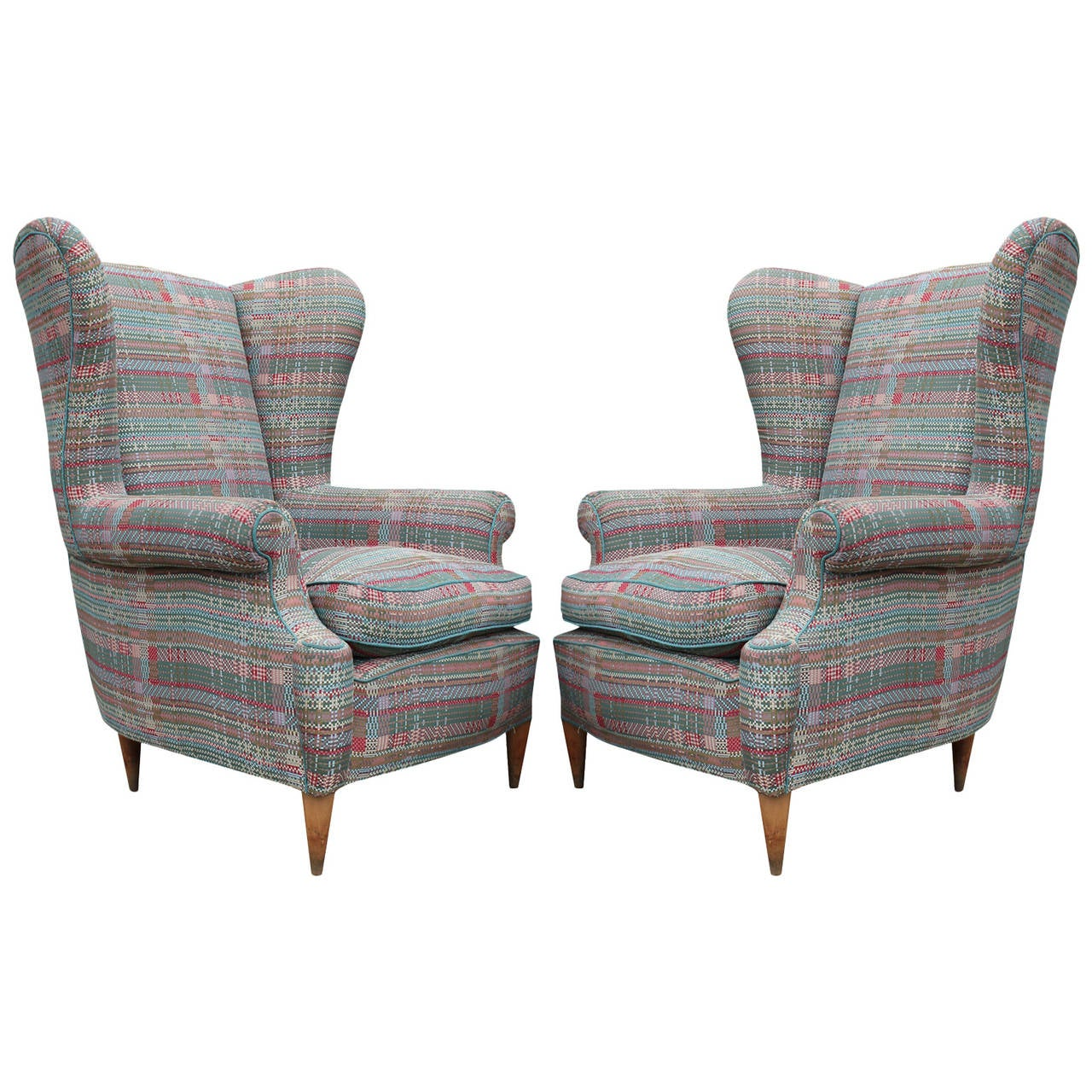 Gorgeous Pair of Mid-Century Modern Italian Wingback Lounge Chairs