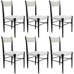Set of Six Modern White Vinyl Italian Dining Chairs