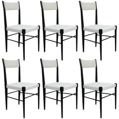 Set of Six Modern White Vinyl Italian Dining Chairs