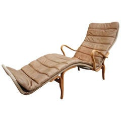 Bruno Mathsson for Dux Pernille Three Chaise Longue Chair in Neutral Leather