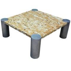 Stunning Hollywood Regency Tessellated Bone and Aluminium Coffee Table