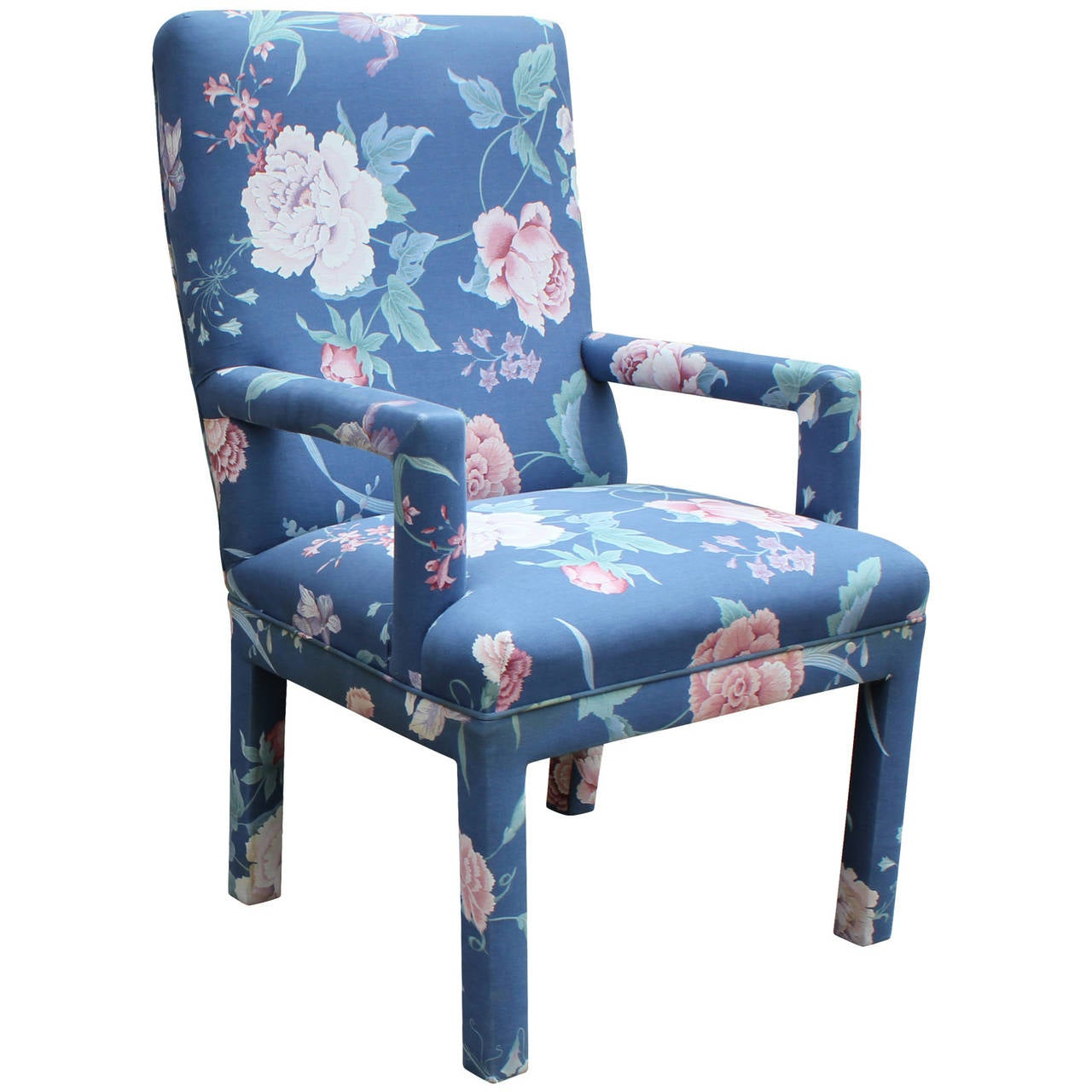 Set of ten milo baughman style fully upholstered parson dining chairs
