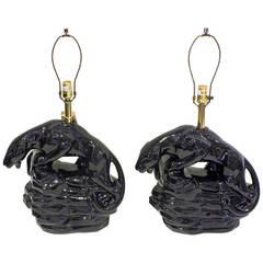 Stunning Pair of Black Panther Ceramic Lamps