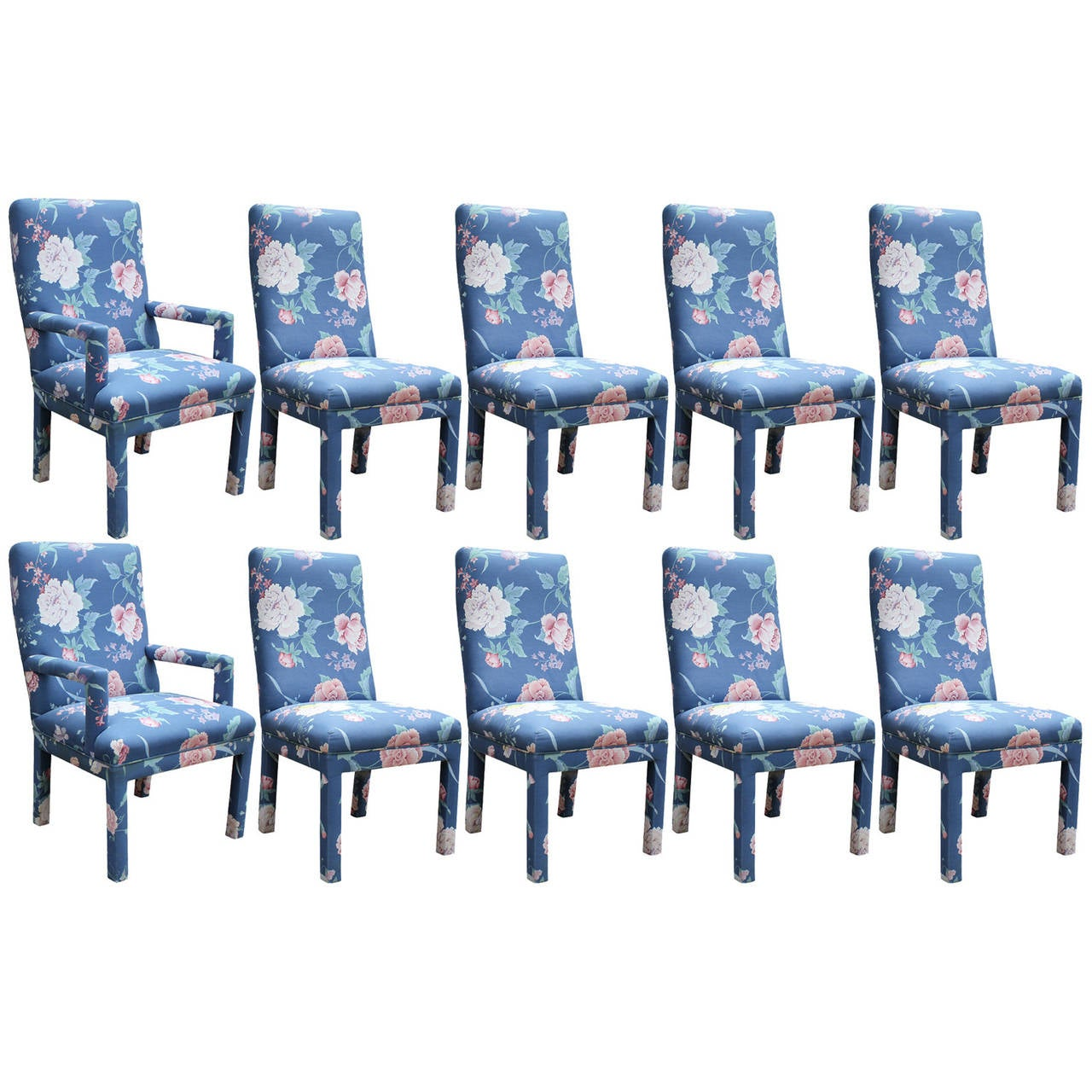Set Of Ten Modern Milo Baughman Style Fully Upholstered Parson Dining Chairs  For Sale