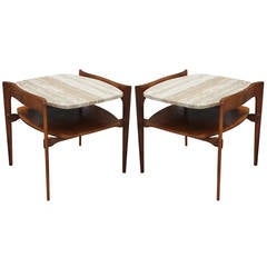 Pair of Travertine Side Tables by Bertha Schaefer