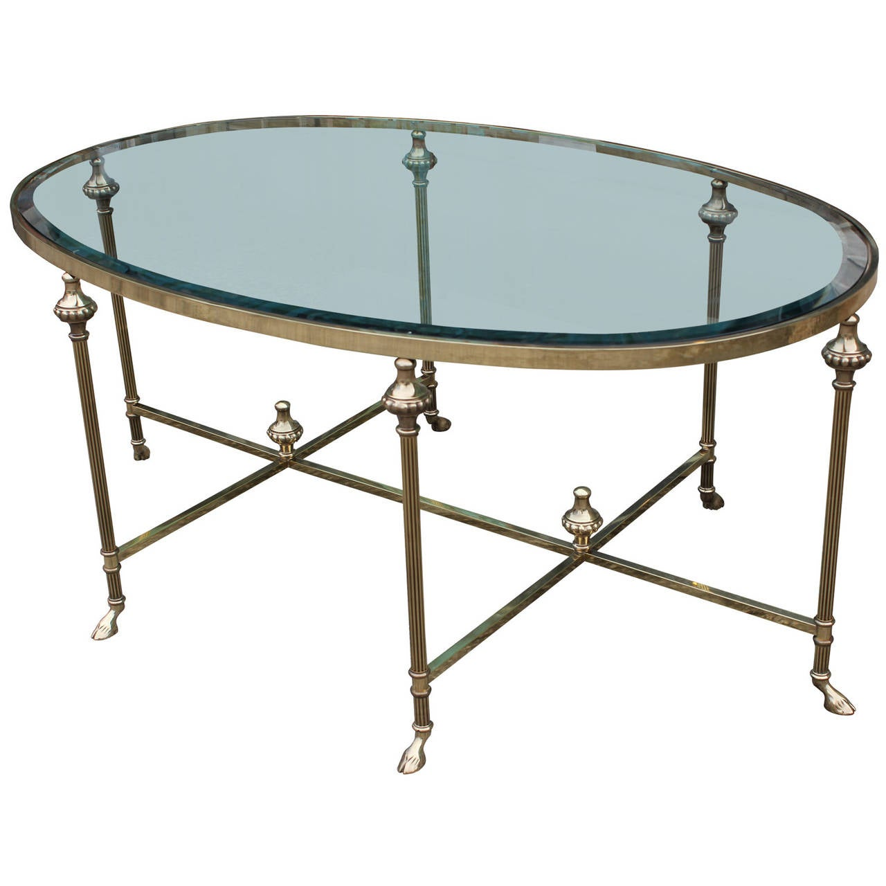 Large French Coffee Table: Large Scale French Hooved Brass Oval Cocktail Table At 1stdibs