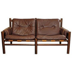 Safari Style Leather Settee by Bruskbo Norway
