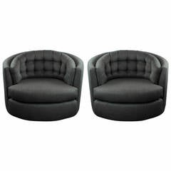 Tufted Pair of Milo Baughman Barrel-Back Swivel Chairs