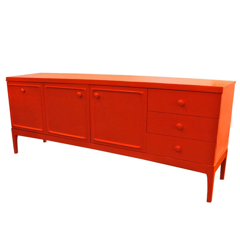 Modern Sideboard Or Credenza In Orange Lacquer At 1stdibs
