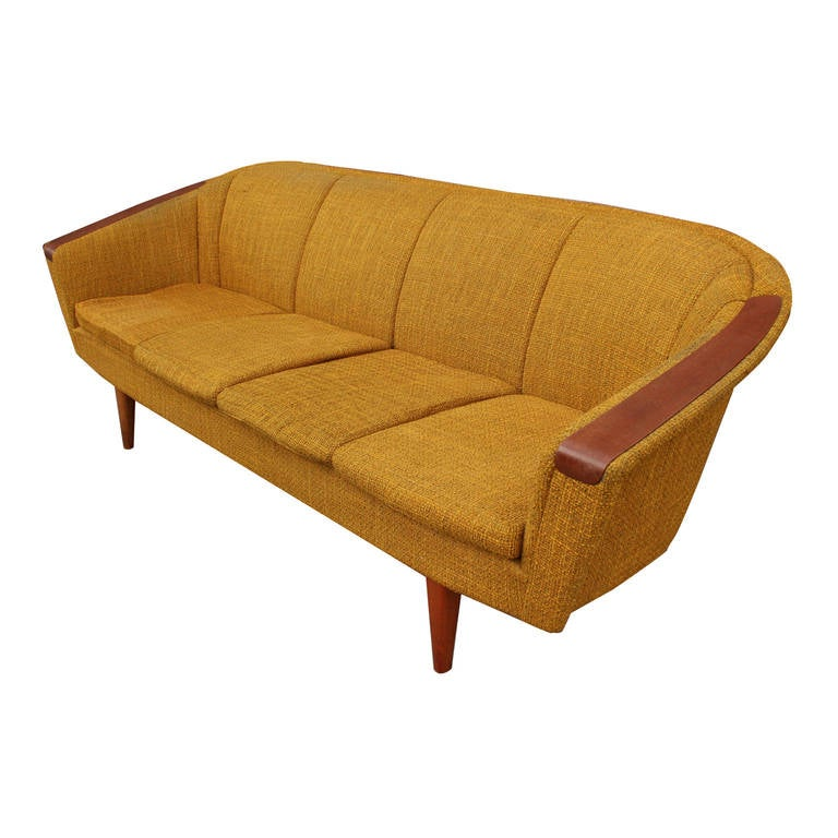 Gorgeous Scandinavian Danish Style Sofa With Teak Arms At 1stdibs