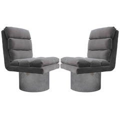 Pair of Modern Chrome Base and Grey Mohair Swivel Lounge Chairs