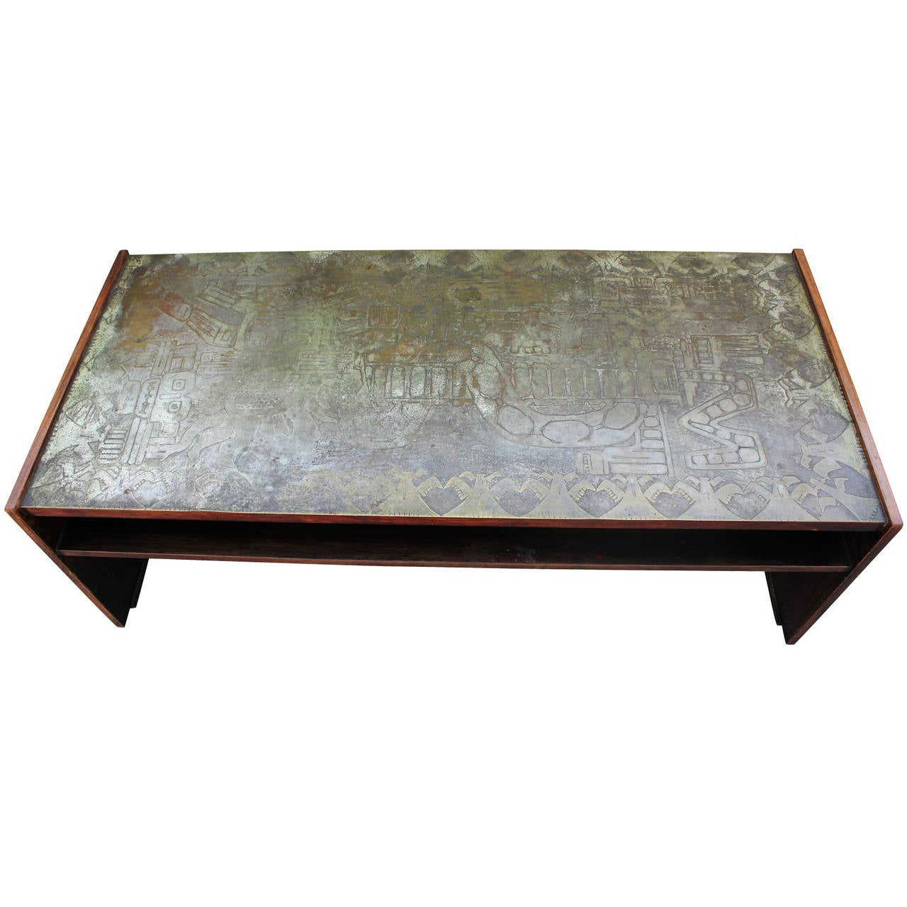 Incredible etched bronze and rosewood coffee table by urso at 1stdibs Bronze coffee tables