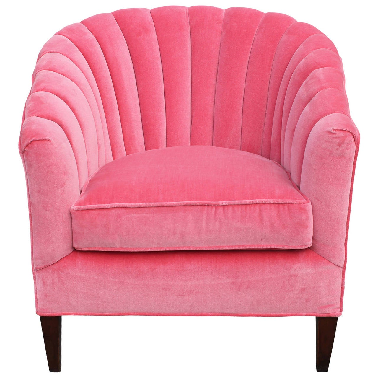 Fabulous Pair Of Pink Velvet Barrel Back Chairs At 1stdibs