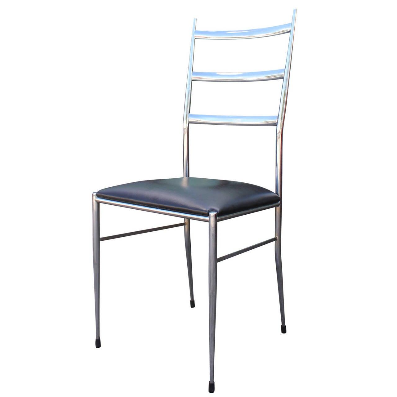 Set of four modern chrome ladder back dining chairs in for Modern chrome dining chairs