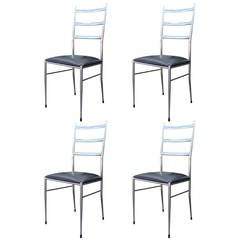 Set of Four Modern Chrome Ladder, Back Dining Chairs in the Style of Gio Ponti