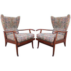 Pair of Modern Italian Wingback Reclining Chairs in the Style of Paolo Buffa