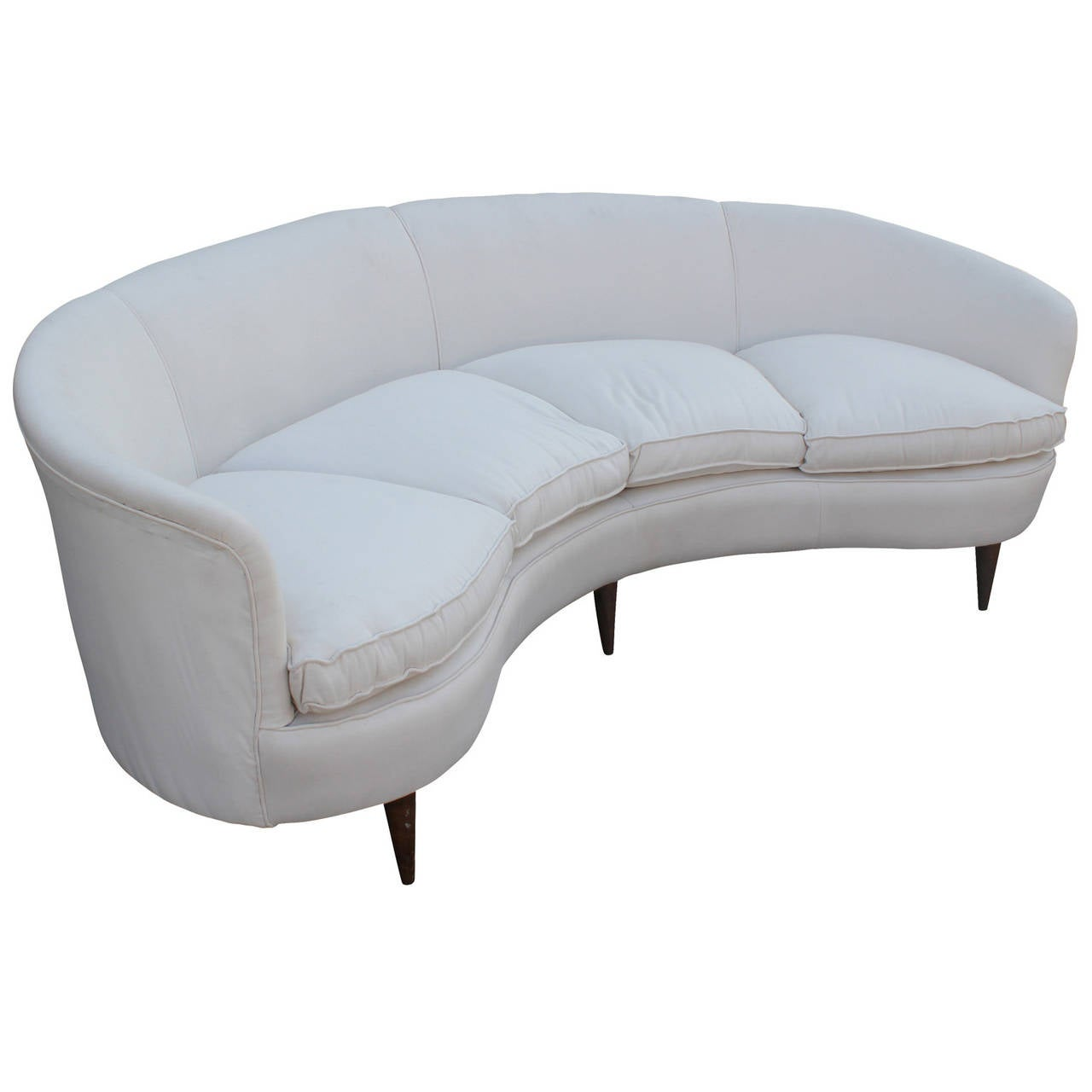 curved white italian sofa at 1stdibs. Black Bedroom Furniture Sets. Home Design Ideas