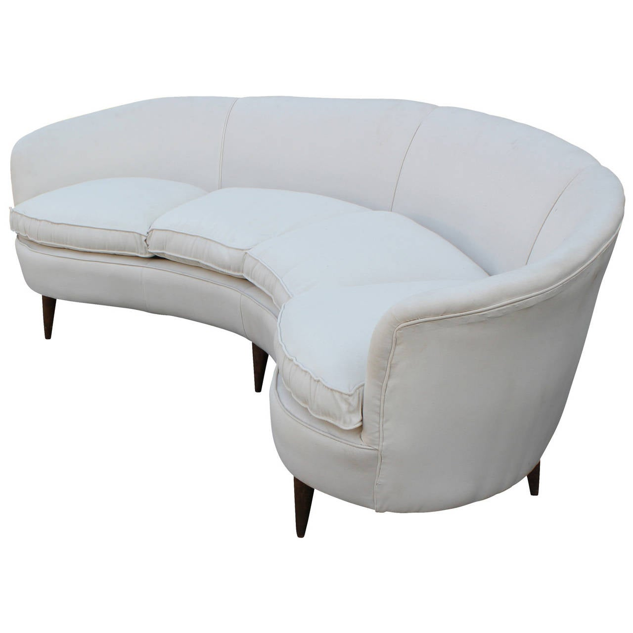 Curved white italian sofa at 1stdibs Curved loveseat sofa