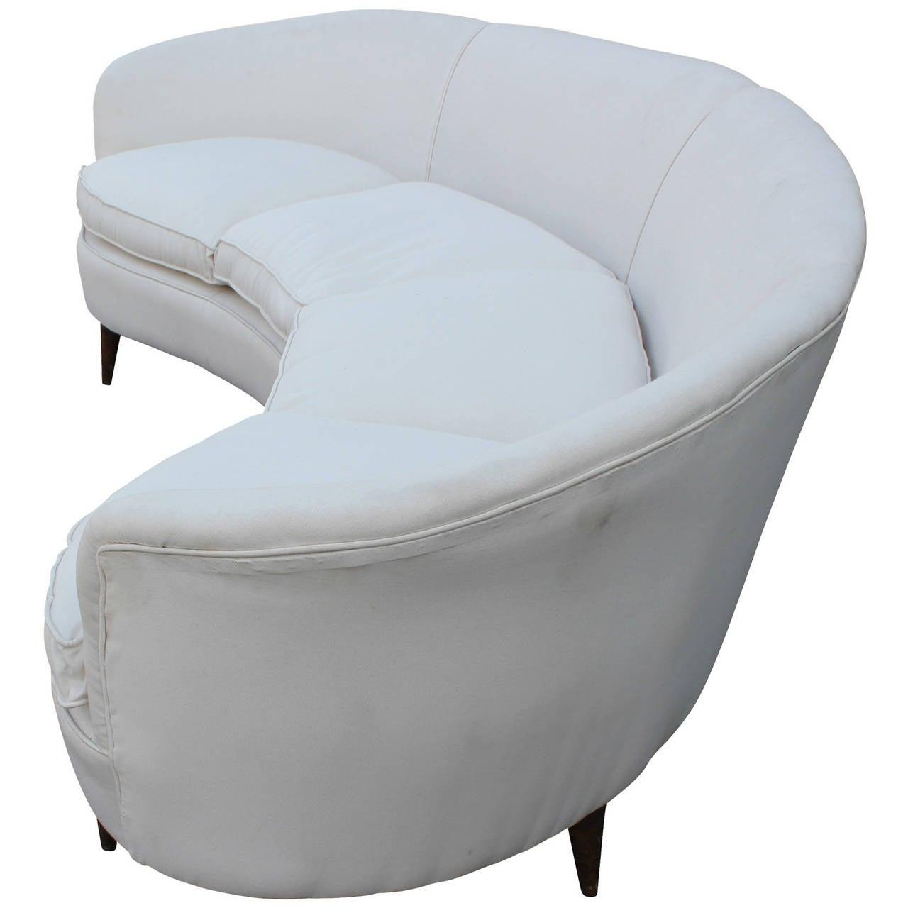 Mid-Century Modern Curved White Italian Sofa
