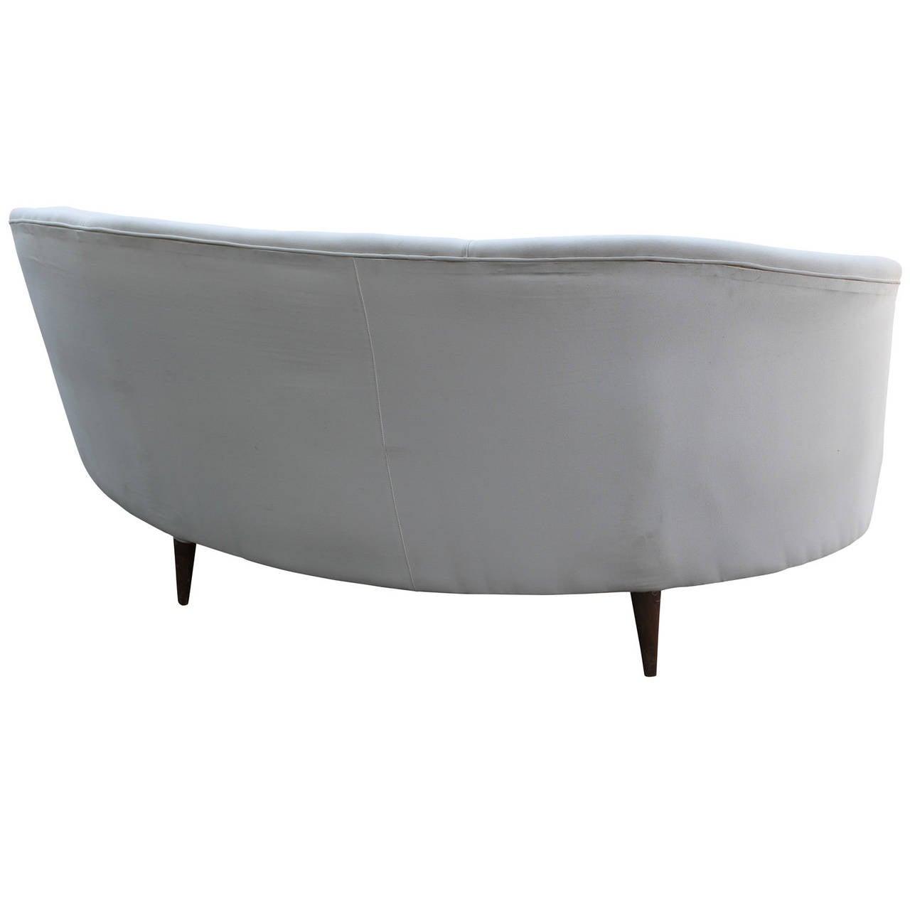 Mid-20th Century Curved White Italian Sofa
