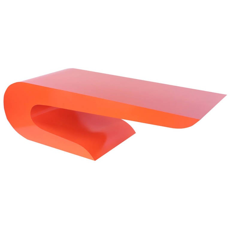 Bold Cantilevered Coffee Table In Orange Lacquer At 1stdibs