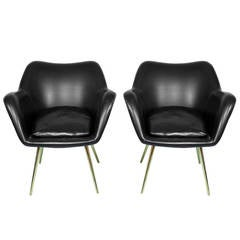 Seductive Pair of Italian Chairs with Brass Legs by Zanuso