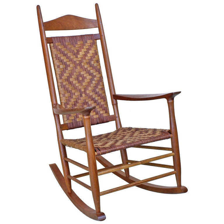 superb danish style custom rocking chair with woven seat for sale