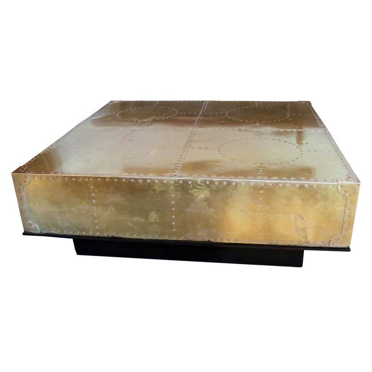 Nail Marble Top Coffee Table: Square Brass Patchwork Table With Copper Nail Heads At 1stdibs