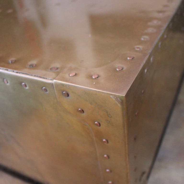Square Brass Patchwork Table With Copper Nail Heads At 1stdibs
