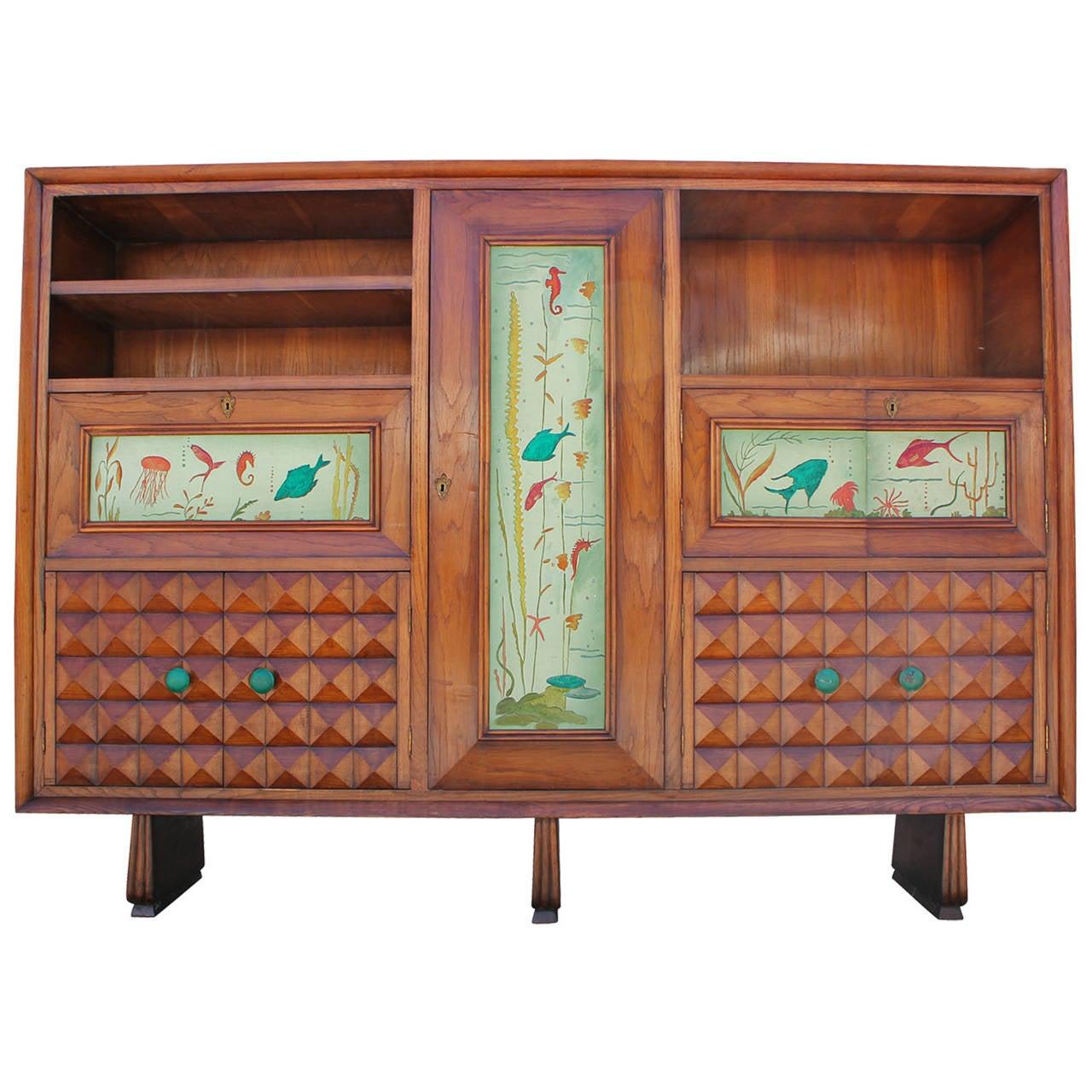 Mid Century Modern Hand Painted Italian Cabinet Bar
