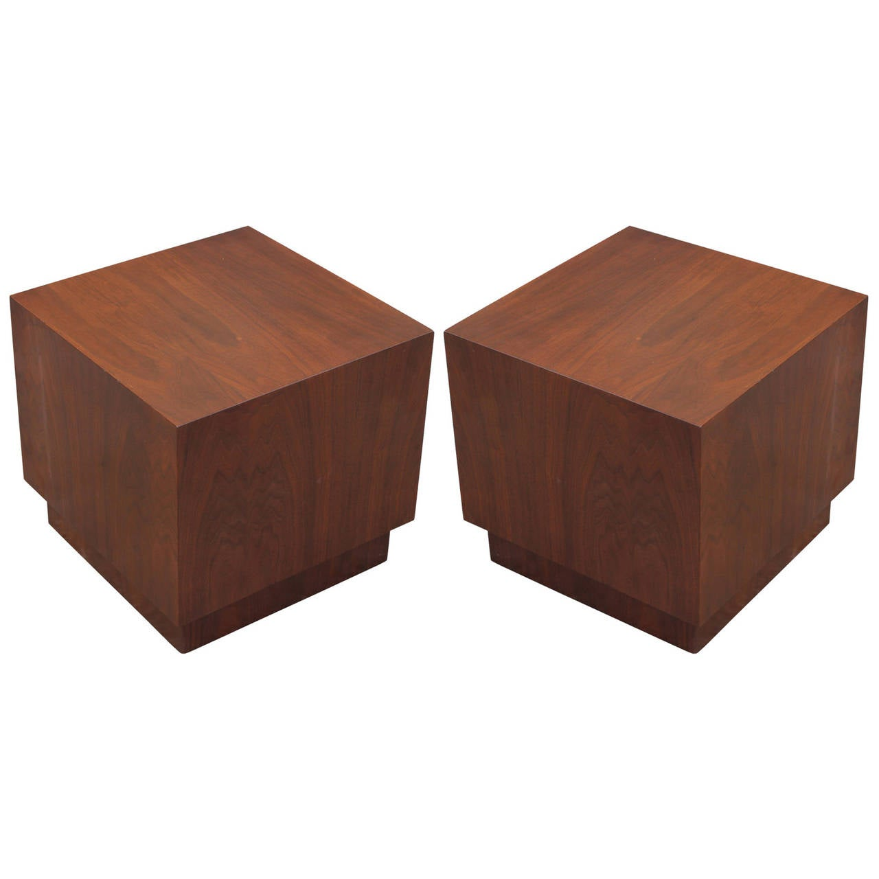 Pair of Mid Century Modern Minimalist Walnut Cube Side