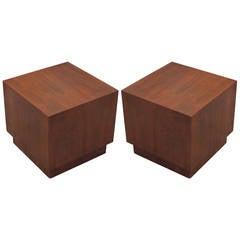 Pair of Mid Century Modern Minimalist Walnut Cube Side Tables