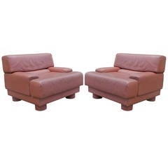 Pair of Mid-Century Modern Leather Lounge Chairs by Percival Lafer