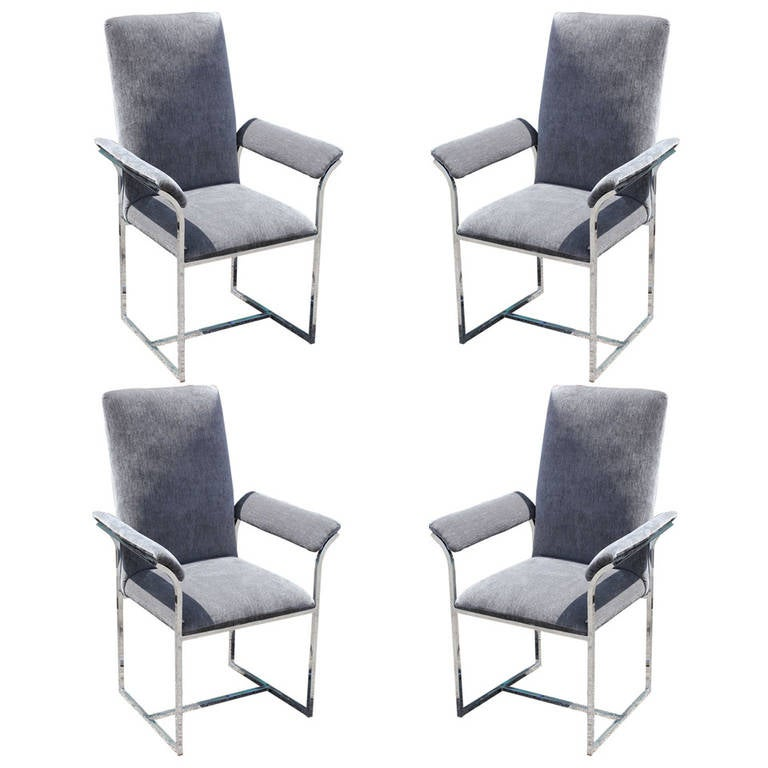 set of four milo baughman chrome dining chairs at 1stdibs