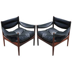 Kristian Solmer Vedel Rosewood and Leather Modus Chairs