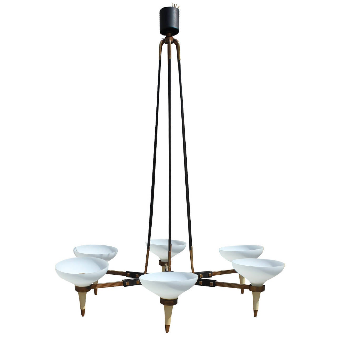 Italian Six Arm Chandelier With Brass Accents At 1stdibs