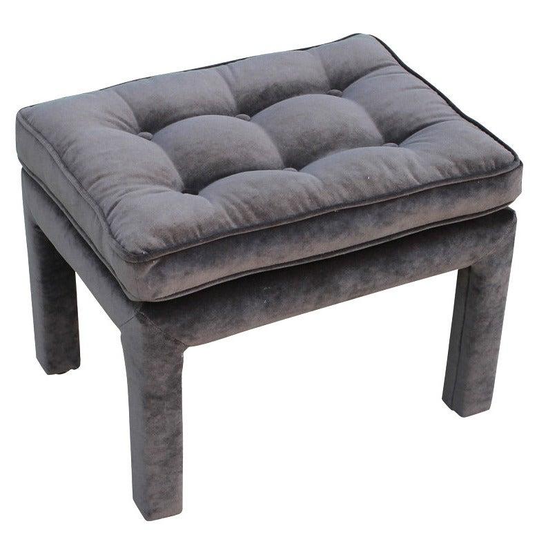 Grey Velvet Tufted Parsons Style Ottoman At 1stdibs