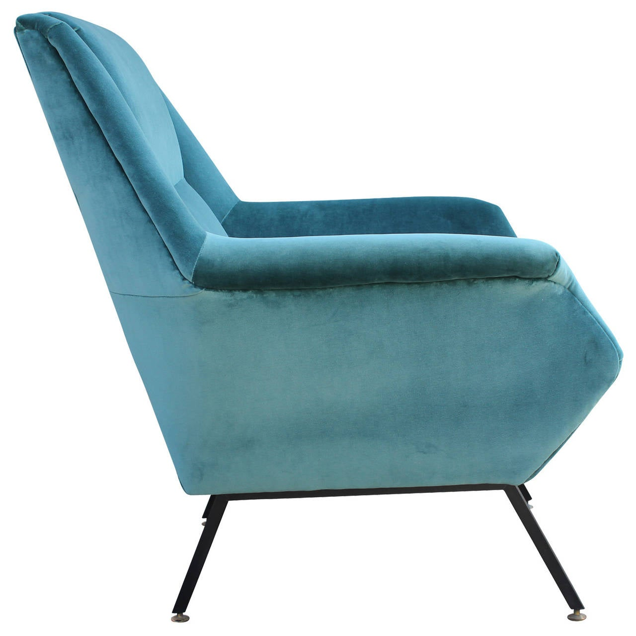 Pair of Fabulous Italian Lounge Chairs in Teal Velvet at 1stdibs