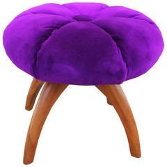 Modern Jewlel Tone Purple Velvet Pouf Swivel Ottoman Heywood Wakefield
