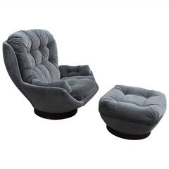 Stately Modern Grey Velvet Swivel Lounge Chair and Ottoman by Selig