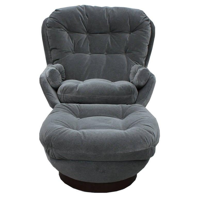 Stately modern grey velvet swivel lounge chair ottoman for Boys lounge chair