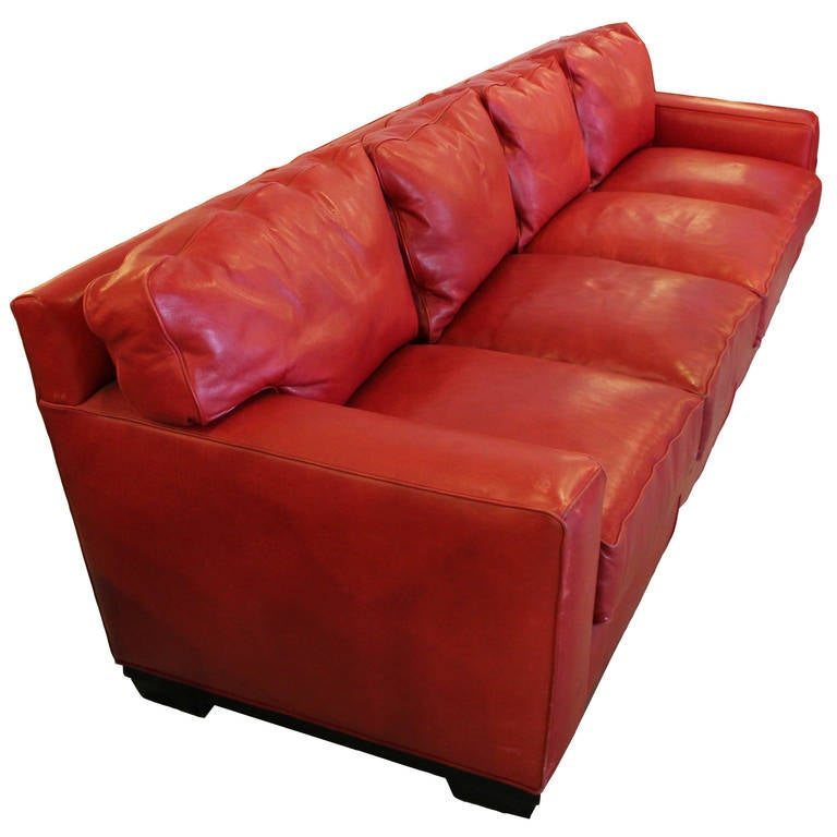 Monumental 10 Foot Red Leather Sofa By Swaim At 1stdibs
