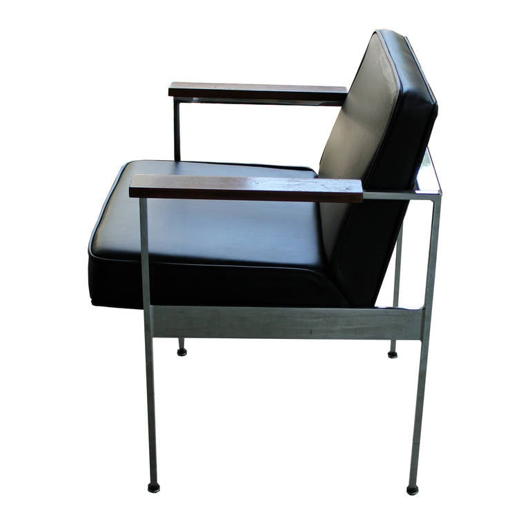 Pair Of George Nelson Armchairs In Black Leather And