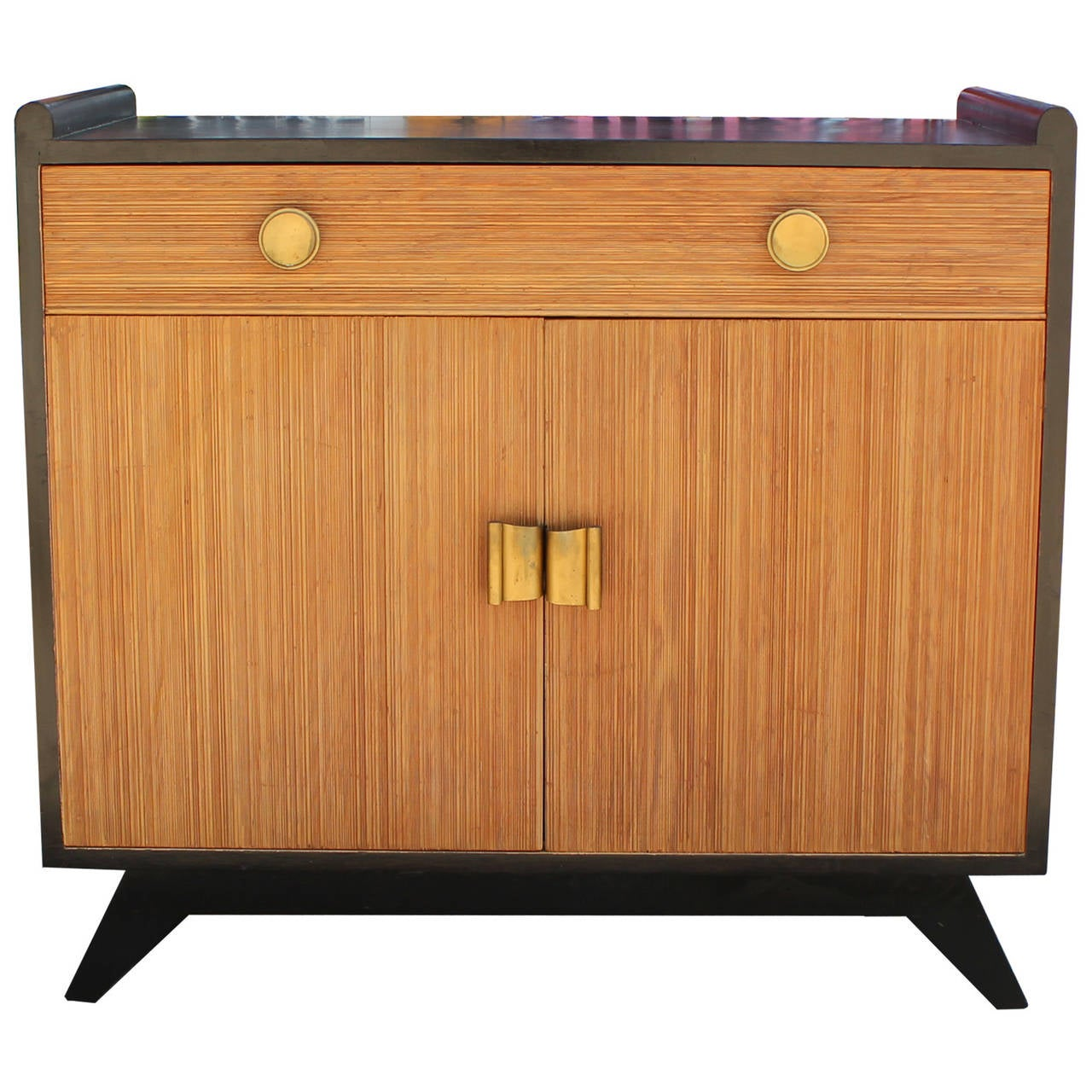 Paul frankl two tone combed wood cabinet for brown saltman for Two tone wood cabinets
