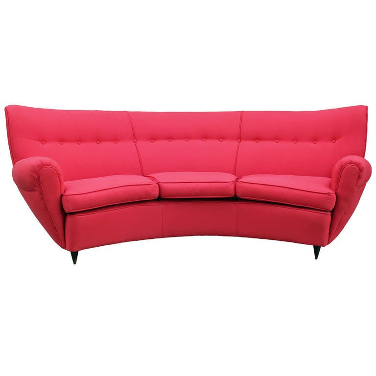 stunning curved paolo buffa style italian sofa at 1stdibs